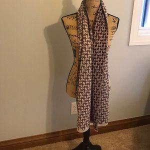 Christian Dior wool burgundy logo scarf